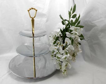 Vintage Kromex triple tier tidbit serving tray stainless and gold 3 tier party tray holiday gift ware wedding bridal elegant serving tray