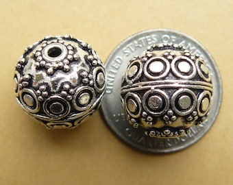 2 Round 16mm Sterling Silver Focal beads With detailed art and patterns B85-10