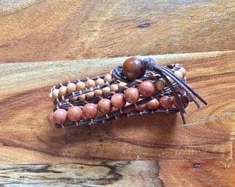 Goldstone and Clay beaded wrap bracelet