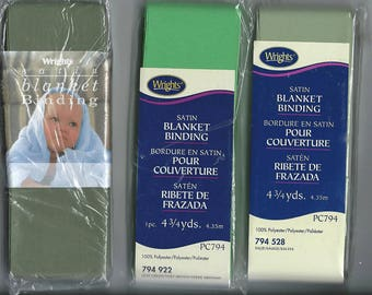 RTS - Craft supplies destash - Wright's Satin Blanket Binding - 3 packages - new in package - leaf green - sage green - sage