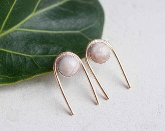 Ocean Jasper Arc Earrings | 14k Gold Fill + Sterling Silver