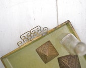 Kyes Moire Tray 1960s Green Gold Enamel Greek Key Handle Vintage Serving or Dresser Tray