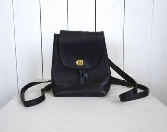 Coach Mini Backpack - Early 90s Black Leather Bag - Vintage Coach Daypack Purse - Style 9960