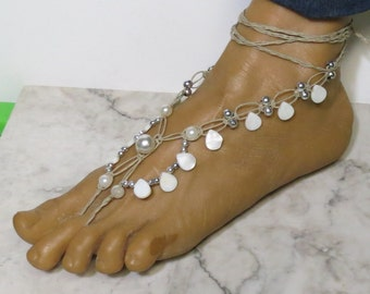 Pair of white and silver shell fancy barefoot sandals made with hemp.  Beach and bellydance fashion. HFT-264