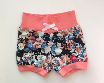 Black and Coral Floral Hipster Baby Shorts / Baby Girl Shorts / Bubble Shorts