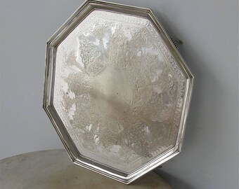 SILVERPLATE BUTLER'S TRAY Rare 8 Sided Octagonal Leaf Design Stepped Up Border 4 Tapered Spire Feet Etched Design English Victorian 1800's