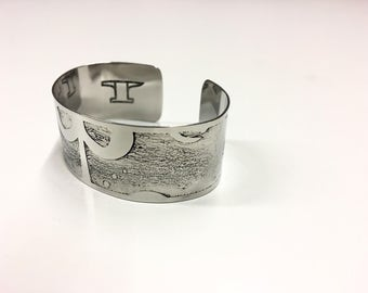 "Abstract Symmetry Cuff - Etched Stainless Steel- 1"" wide"