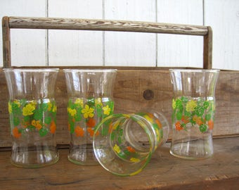 Vintage Glass Tumbler Set Floral Pattern Tumblers Drinking Glasses Yellow Orange Nasturtium Flowers Green Gardener Gift Depression Glassware