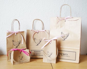Hen party bags MEDIUM: 18cm x 22cm x 8cm personalised with hen print GLUED on and raffia