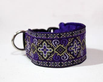 Arabian Nights Collection - Royal Purple with Silver and Gold Jacquard - Martingale or Wide Clip Italian Greyhound Collar