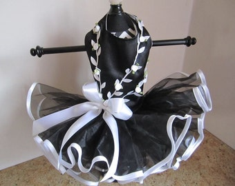 Dog Dress Black and White Rose Branches
