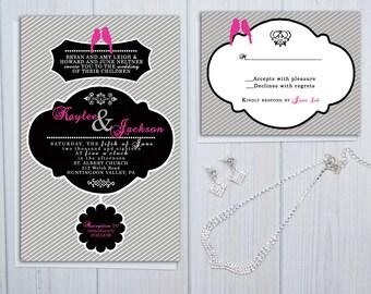 Pinstripe Wedding Invitation Suite   Hot Pink and Black Wedding Suite   Love Bird Wedding Invitations   Pink Boho Invite Set   Sample