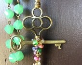 Catholic Rosary, 5-Decade Green Faceted Beads, Rose Rounds, Our Lady of Guadalupe, the Risen Jesus, Skeleton Keys
