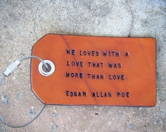 Edgar Allan Poe Quote Leather Luggage Tag With Four Tie Options