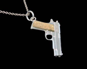 Sterling Silver 1911 45 Pistol with  Solid 18k Yellow Gold Checkered Grips Pendant or Necklace (Optional Chain)