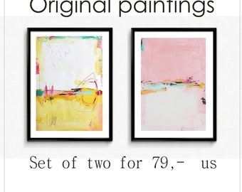 wall art rosa Art painting  set of two abstract  painting  nice acrylic painting  jolina anthony