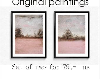 painting rosa creme landscape painting nice wall art wunderful acrylic painting