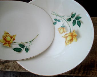 Canonsburg Temptation Yellow Rose Plates Small Oval Deep Round Serving Platters