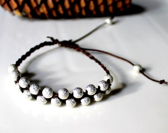 Braided Leather Bracelet with Silver Beads, Friendship Bracelet, Boho, Stackable