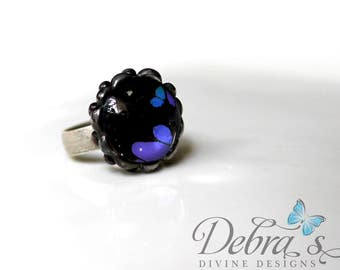 Black and Purple Butterfly Wing Ring - Purple Spotted Swallowtail, Nature Jewelry, Adjustable Ring