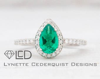 8x5mm Pear Cut Chatham Emerald and Conflict Free Diamond Halo  Engagement November Birthstone Ring LCDH010