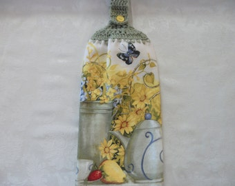 Hanging Double Kitchen TowelFlower Towel Crochet Hanging Kitchen Towel Yellow Flower & Butterfly Crochet Top Kitchen Towel
