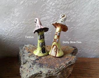 Festus miniature mushroom houses, fairy garden house decor, fairytale house, enchanted house, collectible house, fairy house