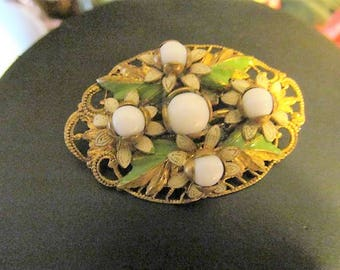 Signed Czechoslovakia Oval Brooch Pin White and Green Enamel Flowers, Filigree