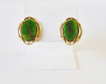 "Spinach Green Bakelite Screw on Earrings Signed ""Star"", Dark green, marbled bakelite, 1940's, Vintage, Retro chic, green & gold, Genuine"