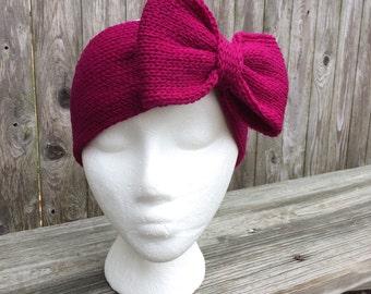 Big Bows, Big Headband Bows, Womens gift, Knit Headband with Bow, Bow Headband, Adult Headband