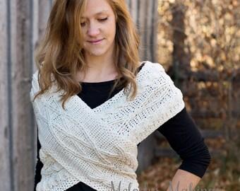 Crochet Cross Body Cowl Pattern - Crochet Cross Body Wrap Pattern - Crochet Scarf Vest Pattern -  Crochet Cowl Wrap Pattern - Cable Crochet