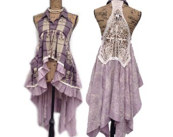 Altered couture Boho chic, country chic, festival tunic, magnolia and pearl inspired, racer back,Romantic