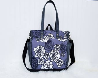 WATERPROOF Charcoal Rose 3-in-1 Convertible Backpack Diaper Bag/Nappy Bag