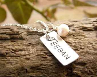 Hand Stamped Mother Necklace Sterling Silver Necklace with Kids Name