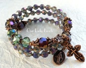 Rosary Bracelet•Purple Crystal Rosary Wrap Bracelet•Mother's Day Gift•Religious Gift•Confirmation Gift•Catholic Jewelry•Bridesmaid Gift•#596
