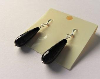Black agate elongated drop gemstone sterling silver earrings