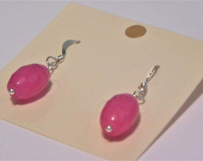 Dyed hot pink quartz gemstone drop sterling silver earrings