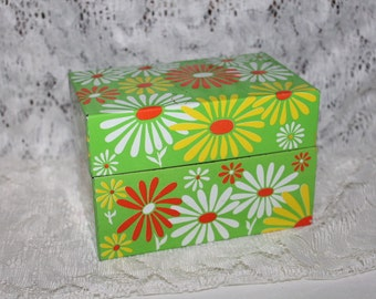 Vintage Mod Recipe Box Storage Box Flower Power