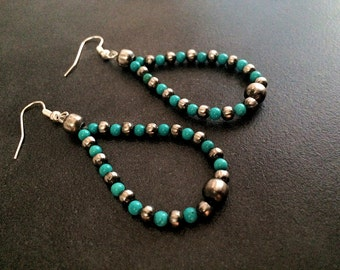 On Sale Now! Navajo Pearls Earrings turquoise dangles