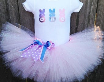 Bunny First Birthday Tutu Set | 1st Birthday with ONE Bodysuit, Pink Tutu, and Headband
