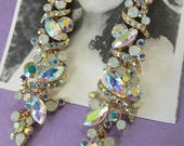 Golden rainbow aroura borealis chandelier earrings wedding jewelry