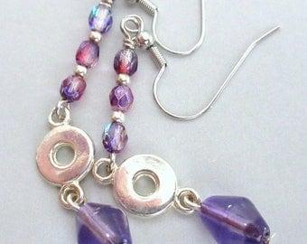 Purple and Silver Bead Dangle Earrings, Purple Glass Bead Dangle Earrings, FREE US SHIPPING, Mango Tease