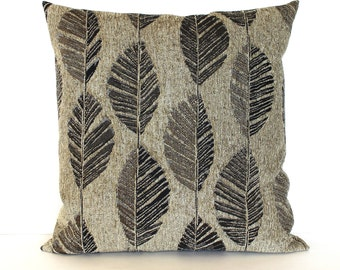 Brown Pillow Cover Contemporary Feather Leaf Upholstery Fabric Pillow Decorative Pillow Throw Pillow Cover 20x20 18x18 16x16
