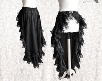 Bustle skirt Victorian, goth, steampunk, black overskirt, Maeror, Somnia Romantica, size small - medium see item details for measurements