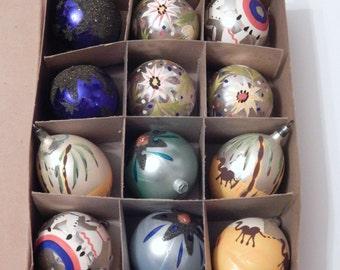 Vintage Ornaments - Glass Ornaments - West Germany - Choslova - Mica Mercury Glass - OOAK Vintage