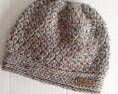 Grey Messy Bun Hat, Tweed Hat, Speckled Hat, Adult Messy Bun, Ponytail Hat, Child Bun Hat, Grey Child Hat, Crochet Messy Bun Hat