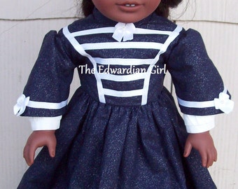 OOAK 1860s military style blue and white Victorian era for 18 inch play dolls such as American Girl, Springfield, OG. Made in USA