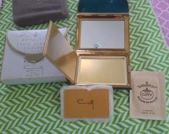 Vintage Coty unused Compact Complete w Box Puff Powder Packet Signed Envelope Novelty Shape Great Condition Rare Collector Item Vanity NICE