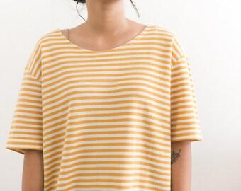 Mustard Striped Shirt / Ribbed Knit Shirt / Yellow Striped Shirt / 90s Shirt / Boat Neck Boxy Short Sleeve 90s Grunge Thin Striped Oversized