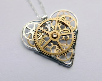 "Steampunk Heart Necklace ""Ellis"" Elegant Industrial Organic Mechanical Heart Pendant Steampunk Love Gift Wife Girlfriend Amazing Gift Idea"